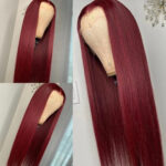 Essibeautiful 100% Brazilian straight virgin human hair wig in 24inches in color Burgundy 900