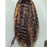 Essibeautiful 100% Virgin Italian human hair wig in 22inches with honey blonde highlights