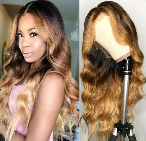 EssiBeautiful Virgin Human hair in 24inches 2tone ombre colored wig.