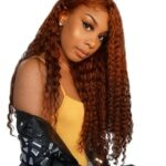 Essibeautiful 100% Virgin human hair Brazilian curly hair in 22inches Copper Color